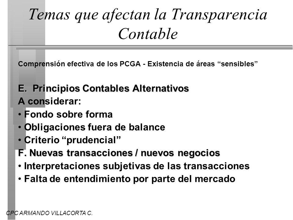CPC ARMANDO VILLACORTA C. Temas que afectan la Transparencia Contable Comprensión efectiva de los PCGA - Existencia de áreas sensibles E. Principios C