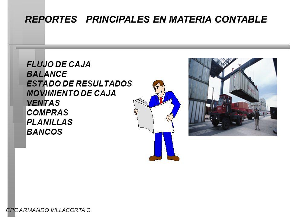 CPC ARMANDO VILLACORTA C. FLUJO DE CAJA BALANCE ESTADO DE RESULTADOS MOVIMIENTO DE CAJA VENTAS COMPRAS PLANILLAS BANCOS REPORTES PRINCIPALES EN MATERI
