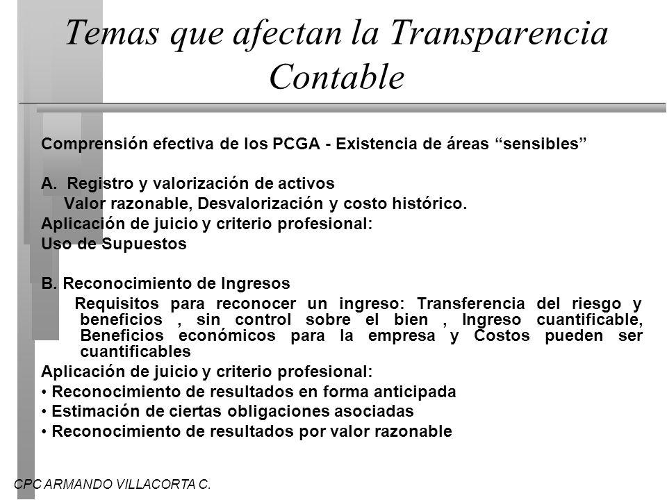 CPC ARMANDO VILLACORTA C. Temas que afectan la Transparencia Contable Comprensión efectiva de los PCGA - Existencia de áreas sensibles A. Registro y v