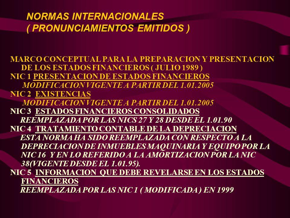 MARCO CONCEPTUAL PARA LA PREPARACION Y PRESENTACION DE LOS ESTADOS FINANCIEROS ( JULIO 1989 ) NIC 1 PRESENTACION DE ESTADOS FINANCIEROS MODIFICACION V