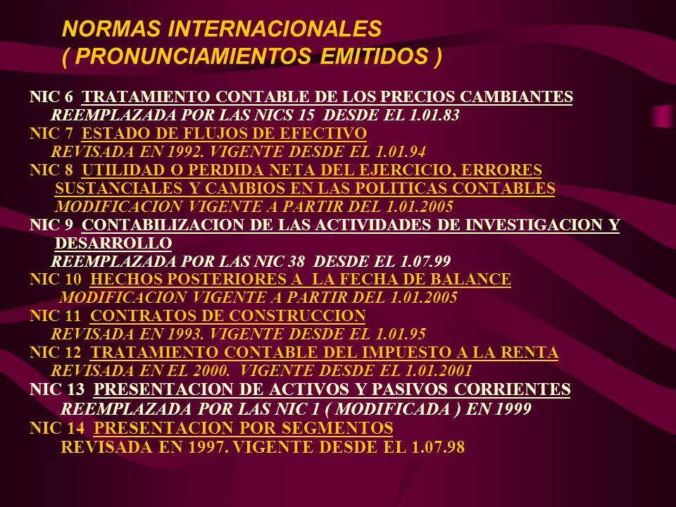 NIC 6 TRATAMIENTO CONTABLE DE LOS PRECIOS CAMBIANTES REEMPLAZADA POR LAS NICS 15 DESDE EL 1.01.83 NIC 7 ESTADO DE FLUJOS DE EFECTIVO REVISADA EN 1992.