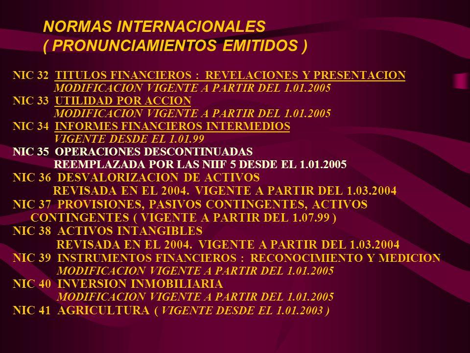 NIC 32 TITULOS FINANCIEROS : REVELACIONES Y PRESENTACION MODIFICACION VIGENTE A PARTIR DEL 1.01.2005 NIC 33 UTILIDAD POR ACCION MODIFICACION VIGENTE A