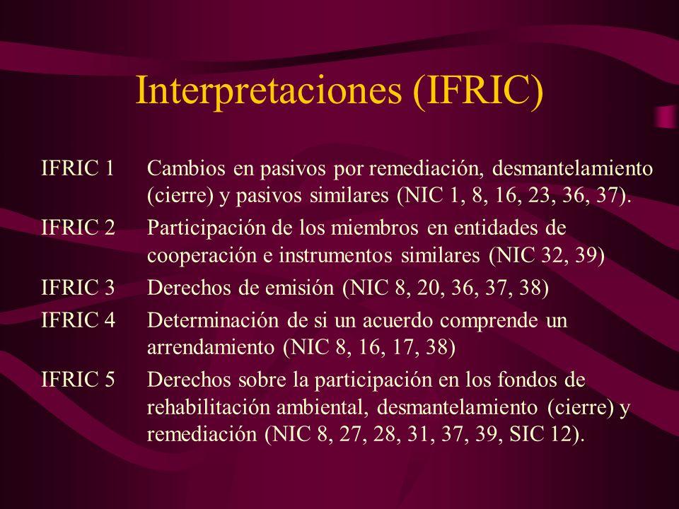 Interpretaciones (IFRIC) IFRIC 1Cambios en pasivos por remediación, desmantelamiento (cierre) y pasivos similares (NIC 1, 8, 16, 23, 36, 37). IFRIC 2P