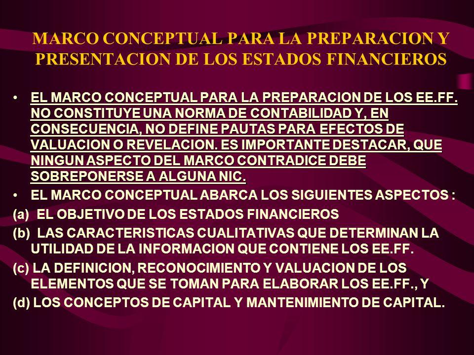 MARCO CONCEPTUAL PARA LA PREPARACION Y PRESENTACION DE LOS ESTADOS FINANCIEROS EL MARCO CONCEPTUAL PARA LA PREPARACION DE LOS EE.FF. NO CONSTITUYE UNA