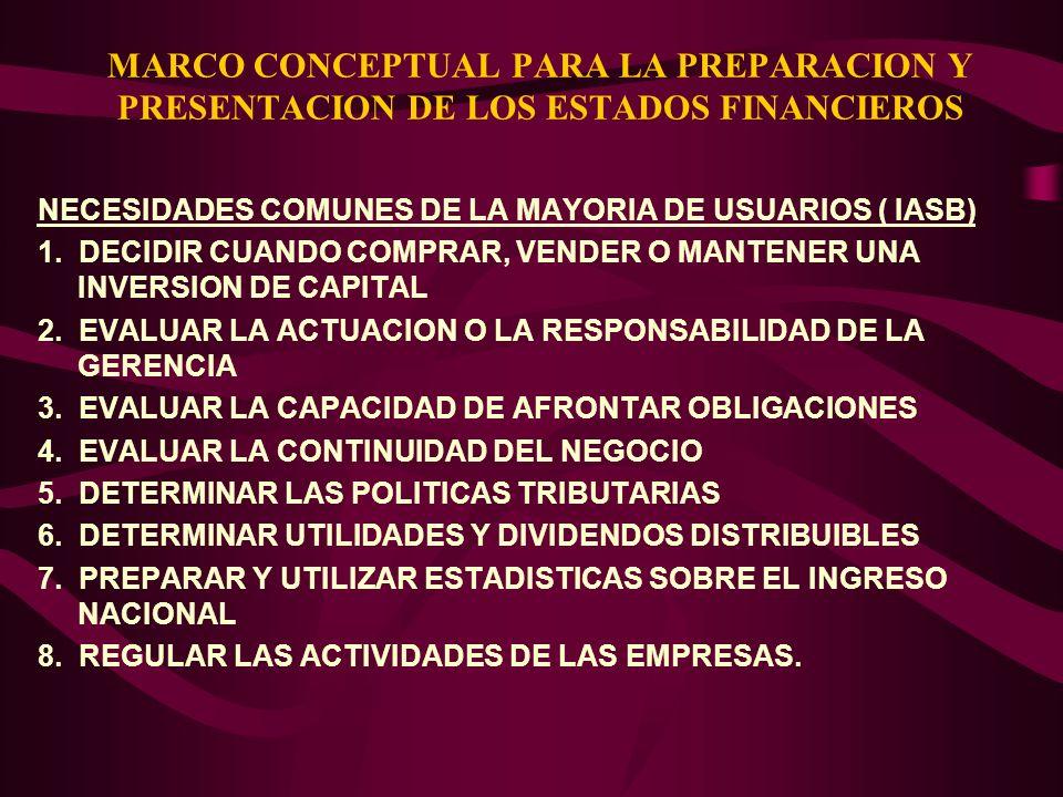 MARCO CONCEPTUAL PARA LA PREPARACION Y PRESENTACION DE LOS ESTADOS FINANCIEROS NECESIDADES COMUNES DE LA MAYORIA DE USUARIOS ( IASB) 1. DECIDIR CUANDO