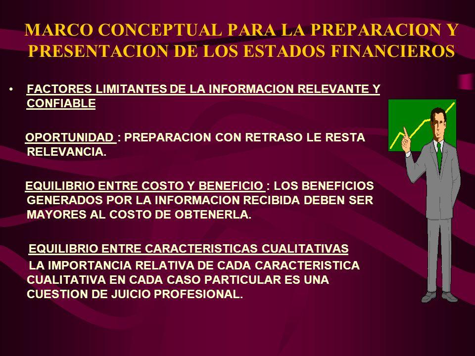 MARCO CONCEPTUAL PARA LA PREPARACION Y PRESENTACION DE LOS ESTADOS FINANCIEROS FACTORES LIMITANTES DE LA INFORMACION RELEVANTE Y CONFIABLE OPORTUNIDAD
