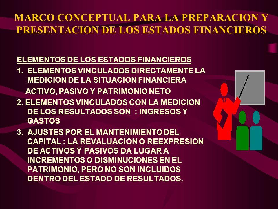 MARCO CONCEPTUAL PARA LA PREPARACION Y PRESENTACION DE LOS ESTADOS FINANCIEROS ELEMENTOS DE LOS ESTADOS FINANCIEROS 1. ELEMENTOS VINCULADOS DIRECTAMEN