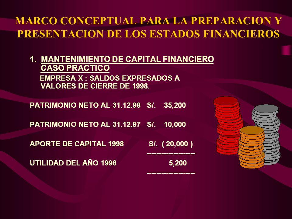 MARCO CONCEPTUAL PARA LA PREPARACION Y PRESENTACION DE LOS ESTADOS FINANCIEROS 1. MANTENIMIENTO DE CAPITAL FINANCIERO CASO PRACTICO EMPRESA X : SALDOS