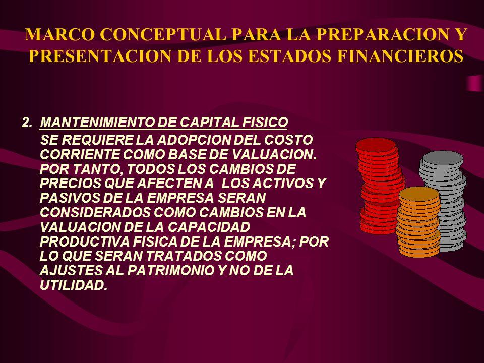 MARCO CONCEPTUAL PARA LA PREPARACION Y PRESENTACION DE LOS ESTADOS FINANCIEROS 2. MANTENIMIENTO DE CAPITAL FISICO SE REQUIERE LA ADOPCION DEL COSTO CO