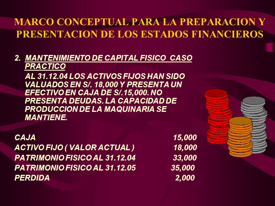 MARCO CONCEPTUAL PARA LA PREPARACION Y PRESENTACION DE LOS ESTADOS FINANCIEROS 2. MANTENIMIENTO DE CAPITAL FISICO CASO PRACTICO AL 31.12.04 LOS ACTIVO