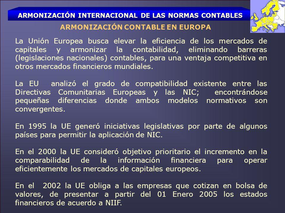 ARMONIZACIÓN INTERNACIONAL DE LAS NORMAS CONTABLES ARMONIZACIÓN CONTABLE EN EL RESTO DEL MUNDO La Junta de Normas Internacionales de Contabilidad se formó para desarrollar normas contables a nivel mundial.