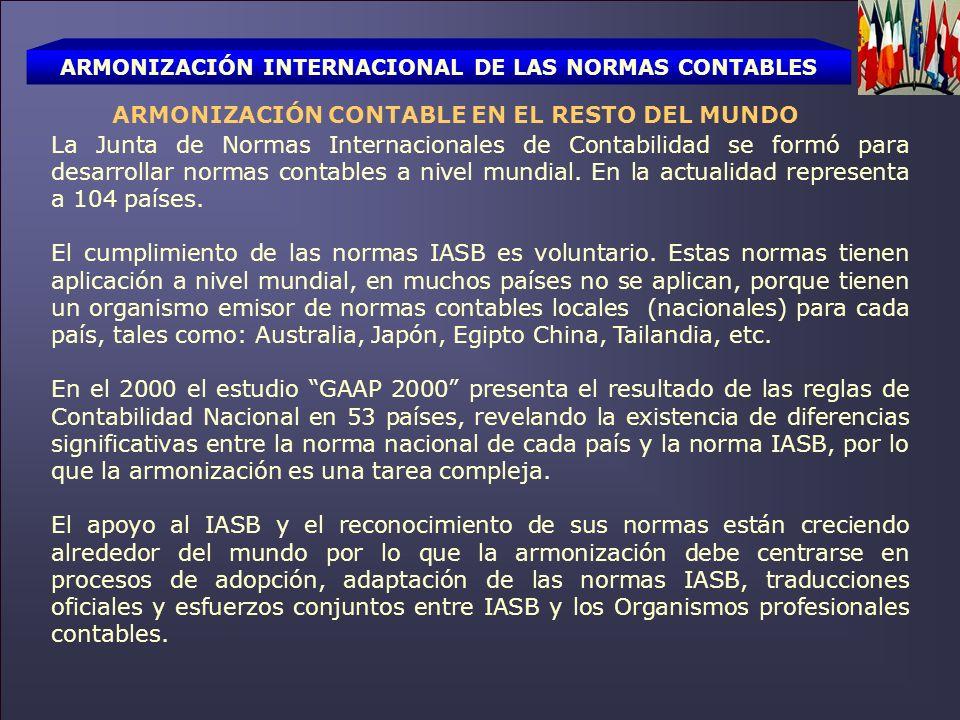 ARMONIZACIÓN INTERNACIONAL DE LAS NORMAS CONTABLES ARMONIZACIÓN CONTABLE EN EL RESTO DEL MUNDO La Junta de Normas Internacionales de Contabilidad se f