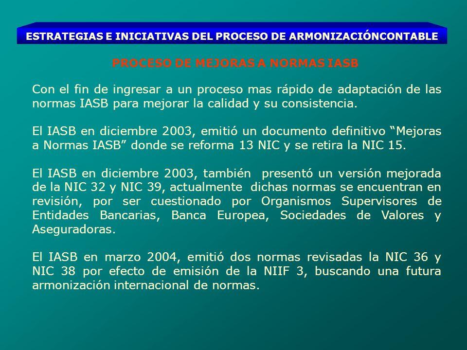 ESTRATEGIAS E INICIATIVAS DEL PROCESO DE ARMONIZACIÓNCONTABLE PROCESO DE MEJORAS A NORMAS IASB Con el fin de ingresar a un proceso mas rápido de adapt