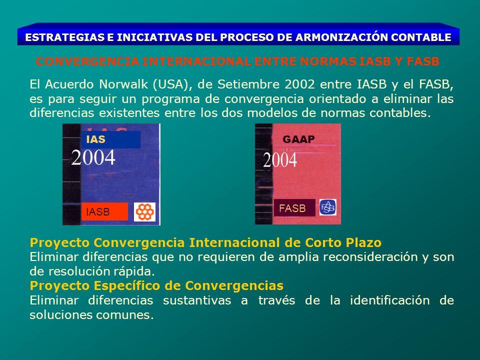 ESTRATEGIAS E INICIATIVAS DEL PROCESO DE ARMONIZACIÓN CONTABLE PROYECTO CONVERGENCIA INTERNACIONAL DE CORTO PLAZO Este proyecto tuvo como fecha límite para la emisión de normas finales el 30 de Setiembre de 2004, algunos de los avances: a) IASB ha incluido parte de éstos cambios en su Proyecto de Mejoras de 13 NIC, con vigencia 01 de enero del 2005.