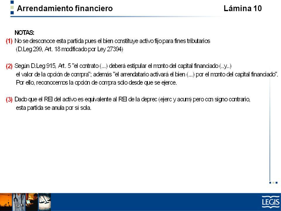 Arrendamiento financiero Lámina 10