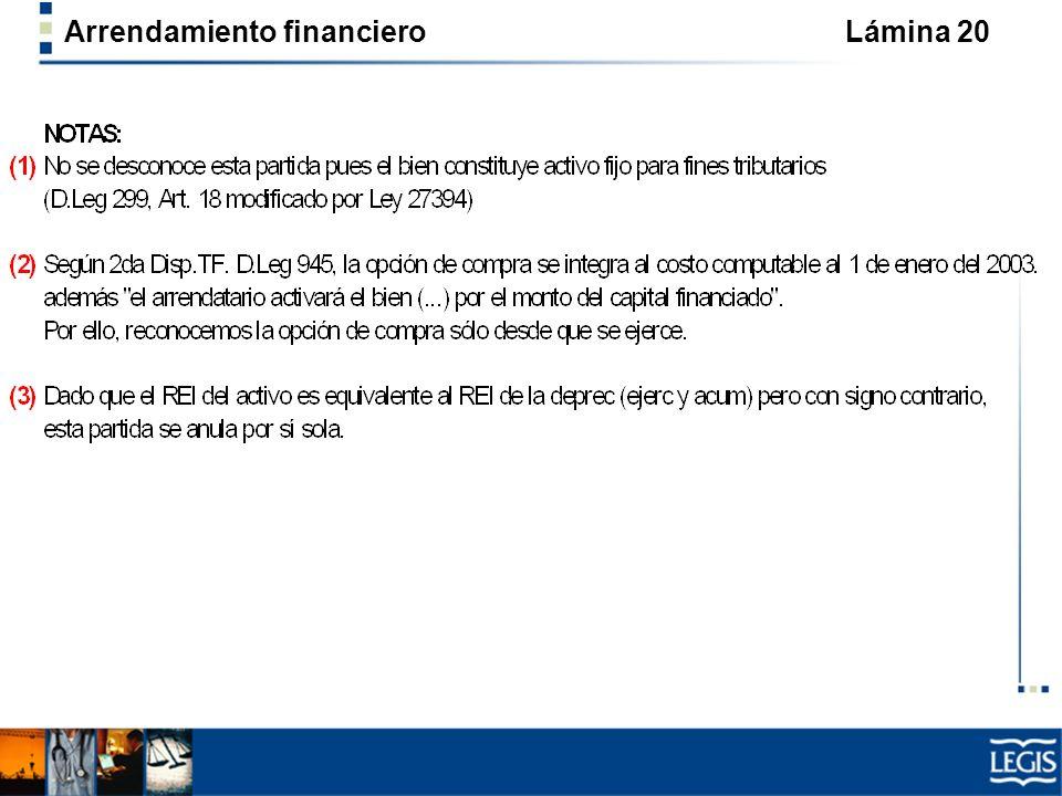 Arrendamiento financiero Lámina 20