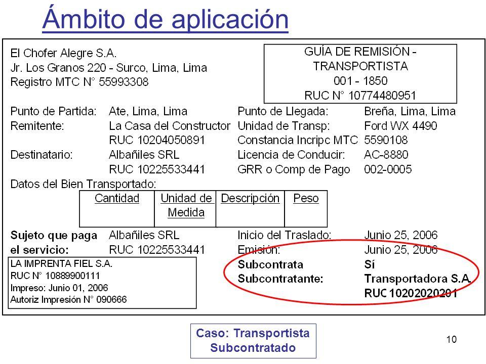 10 Caso: Transportista Subcontratado Ámbito de aplicación