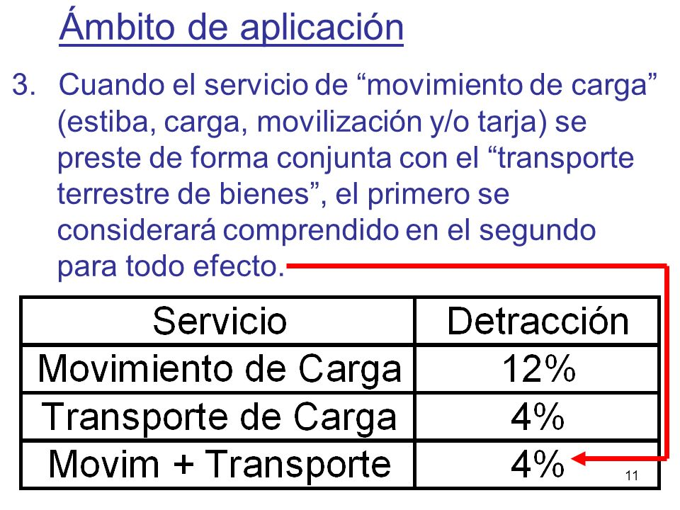 11 3.Cuando el servicio de movimiento de carga (estiba, carga, movilización y/o tarja) se preste de forma conjunta con el transporte terrestre de bien