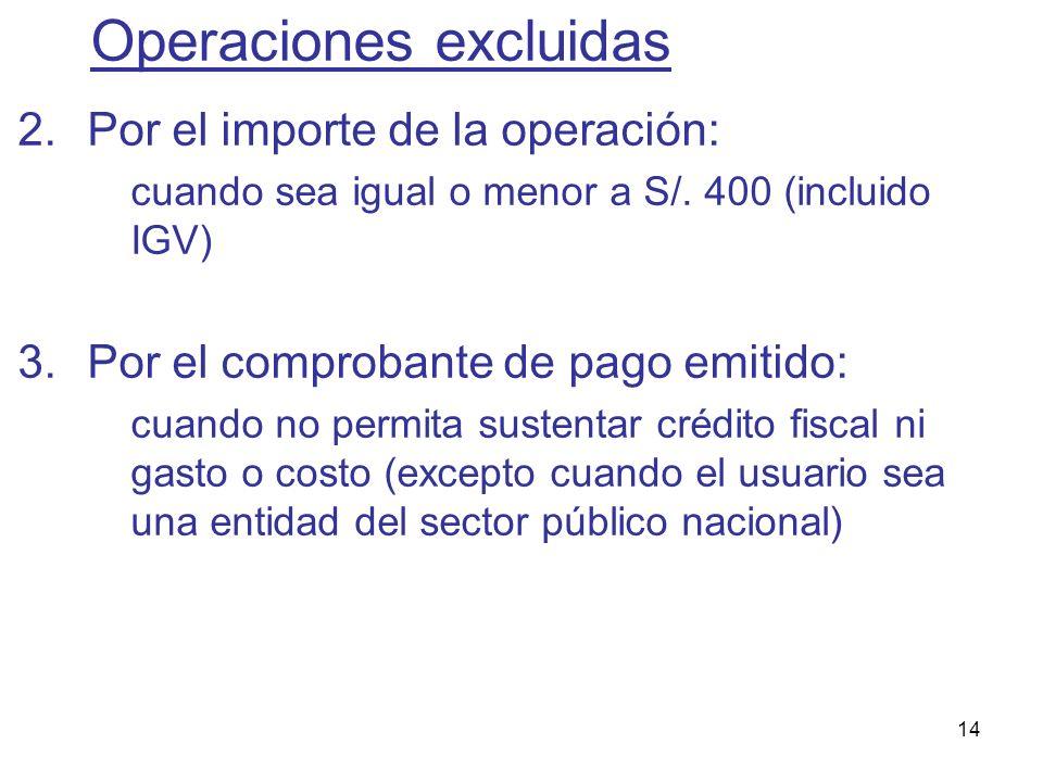 14 2.Por el importe de la operación: cuando sea igual o menor a S/. 400 (incluido IGV) 3.Por el comprobante de pago emitido: cuando no permita sustent