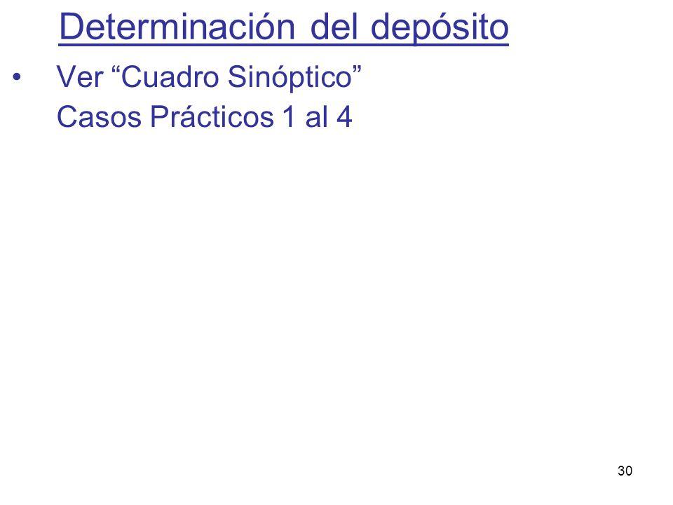 30 Determinación del depósito Ver Cuadro Sinóptico Casos Prácticos 1 al 4