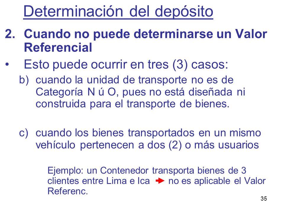 35 2.Cuando no puede determinarse un Valor Referencial Esto puede ocurrir en tres (3) casos: b)cuando la unidad de transporte no es de Categoría N ú O