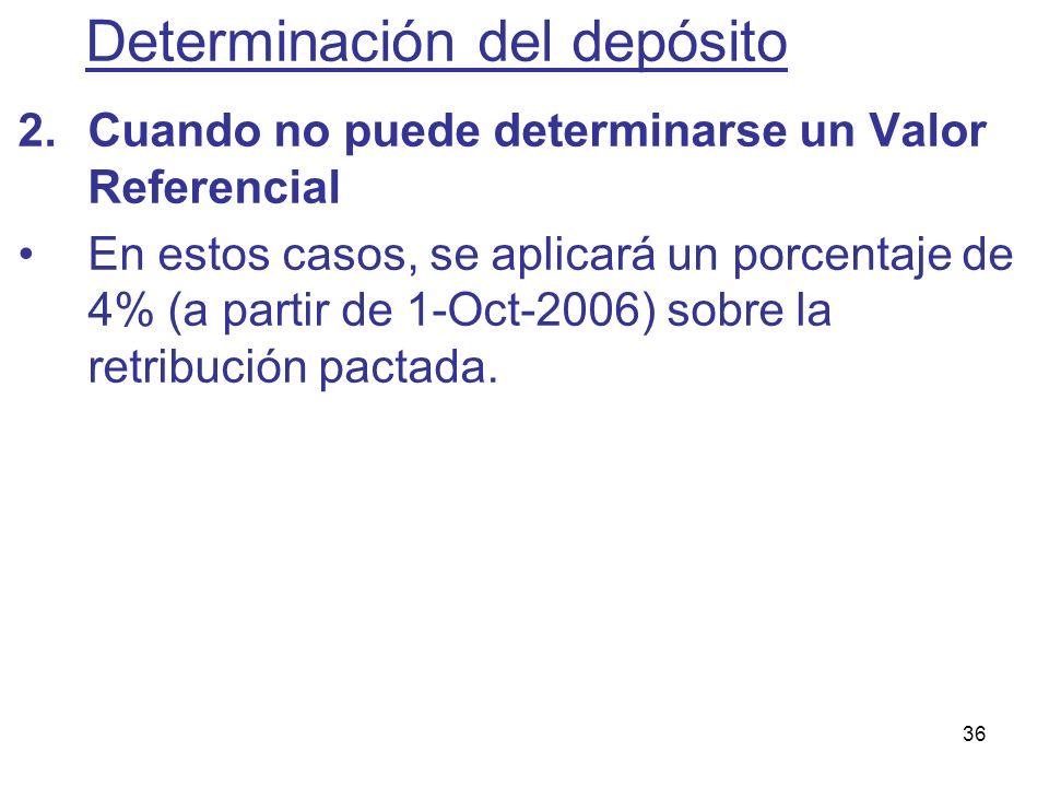 36 2.Cuando no puede determinarse un Valor Referencial En estos casos, se aplicará un porcentaje de 4% (a partir de 1-Oct-2006) sobre la retribución p