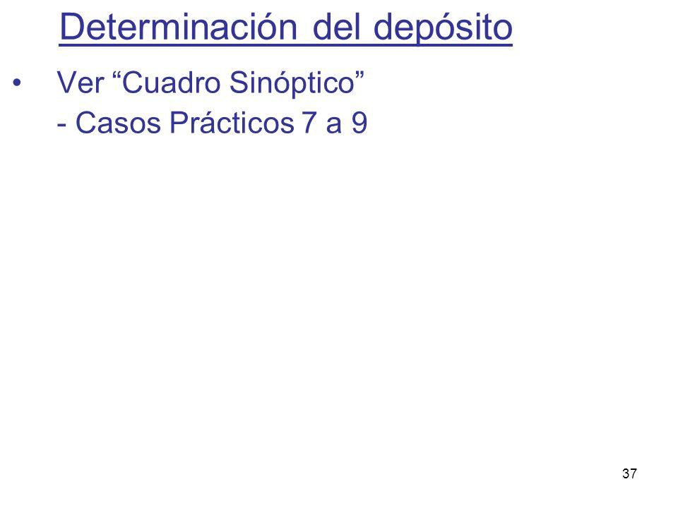 37 Determinación del depósito Ver Cuadro Sinóptico - Casos Prácticos 7 a 9