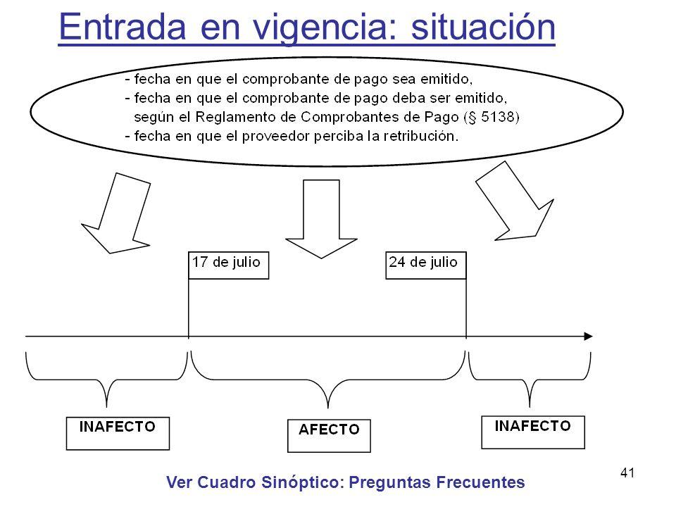 41 Entrada en vigencia: situación Ver Cuadro Sinóptico: Preguntas Frecuentes