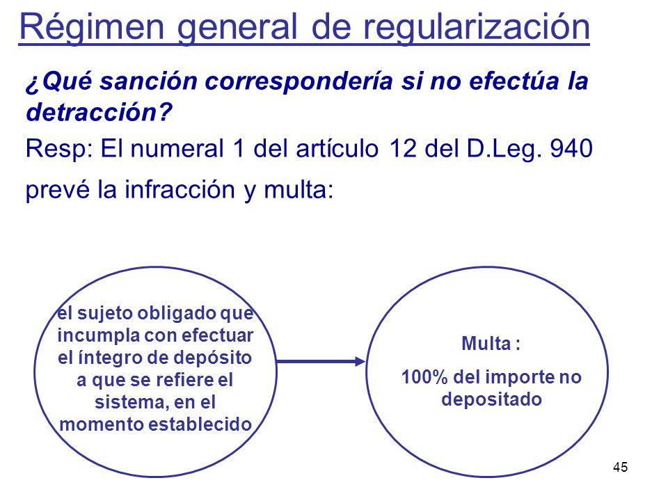 45 ¿Qué sanción correspondería si no efectúa la detracción? Resp: El numeral 1 del artículo 12 del D.Leg. 940 prevé la infracción y multa: el sujeto o