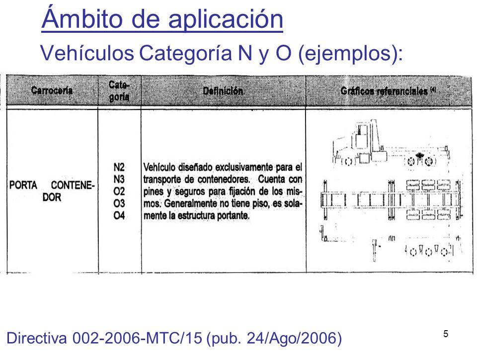 5 Vehículos Categoría N y O (ejemplos): Ámbito de aplicación Directiva 002-2006-MTC/15 (pub. 24/Ago/2006)