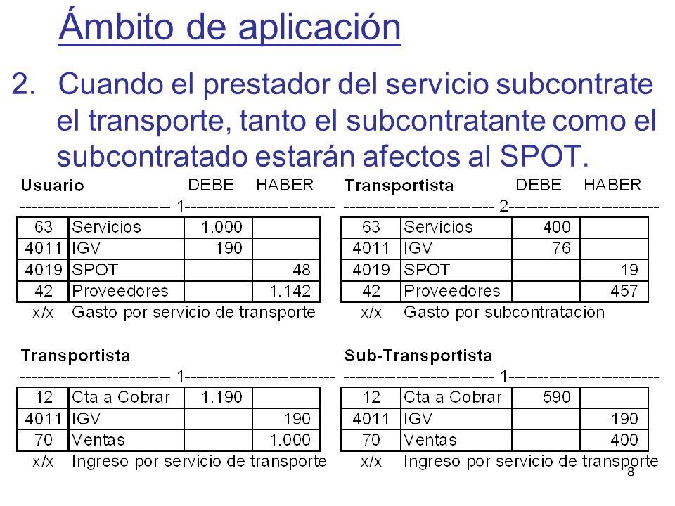 8 2.Cuando el prestador del servicio subcontrate el transporte, tanto el subcontratante como el subcontratado estarán afectos al SPOT. Ámbito de aplic