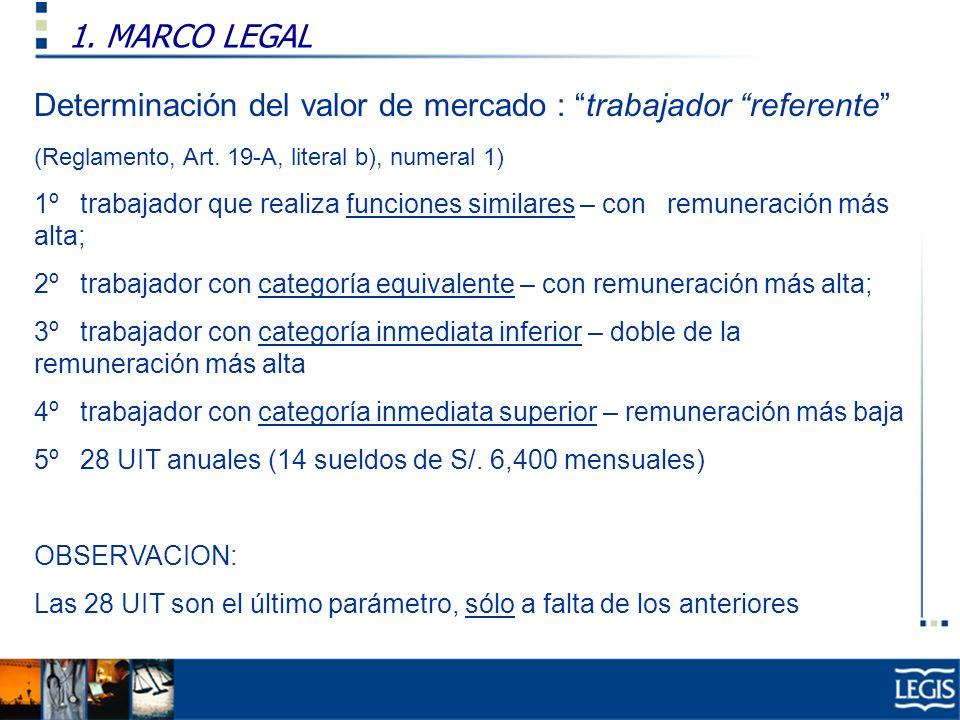 1. MARCO LEGAL Ley Imp. Renta, 37.n) Determinación del valor de mercado : trabajador referente (Reglamento, Art. 19-A, literal b), numeral 1) 1º traba