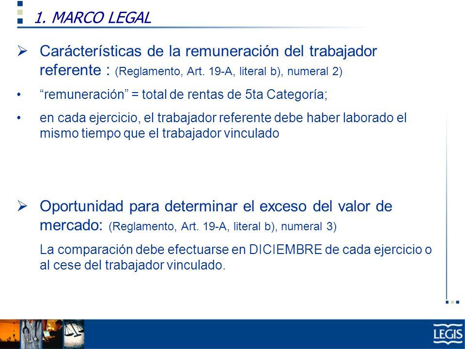 1. MARCO LEGAL Ley Imp. Renta, 37.n) Carácterísticas de la remuneración del trabajador referente : (Reglamento, Art. 19-A, literal b), numeral 2) remu