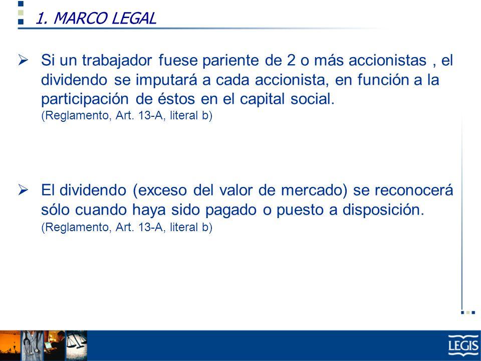 1. MARCO LEGAL Ley Imp. Renta, 37.n) Si un trabajador fuese pariente de 2 o más accionistas, el dividendo se imputará a cada accionista, en función a