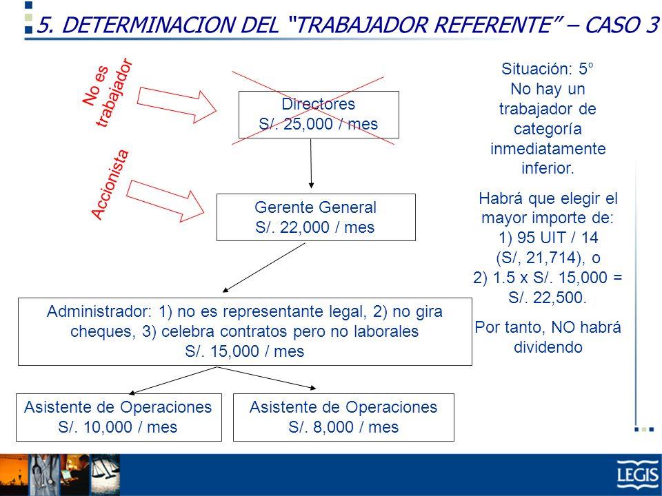 5. DETERMINACION DEL TRABAJADOR REFERENTE – CASO 3 Gerente General S/. 22,000 / mes Administrador: 1) no es representante legal, 2) no gira cheques, 3