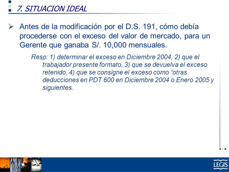7. SITUACION IDEAL Ley Imp. Renta, 37.n) Antes de la modificación por el D.S. 191, cómo debía procederse con el exceso del valor de mercado, para un G