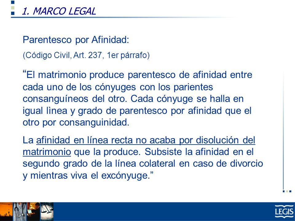 1. MARCO LEGAL Ley Imp. Renta, 37.n) Parentesco por Afinidad: (Código Civil, Art. 237, 1er párrafo) El matrimonio produce parentesco de afinidad entre