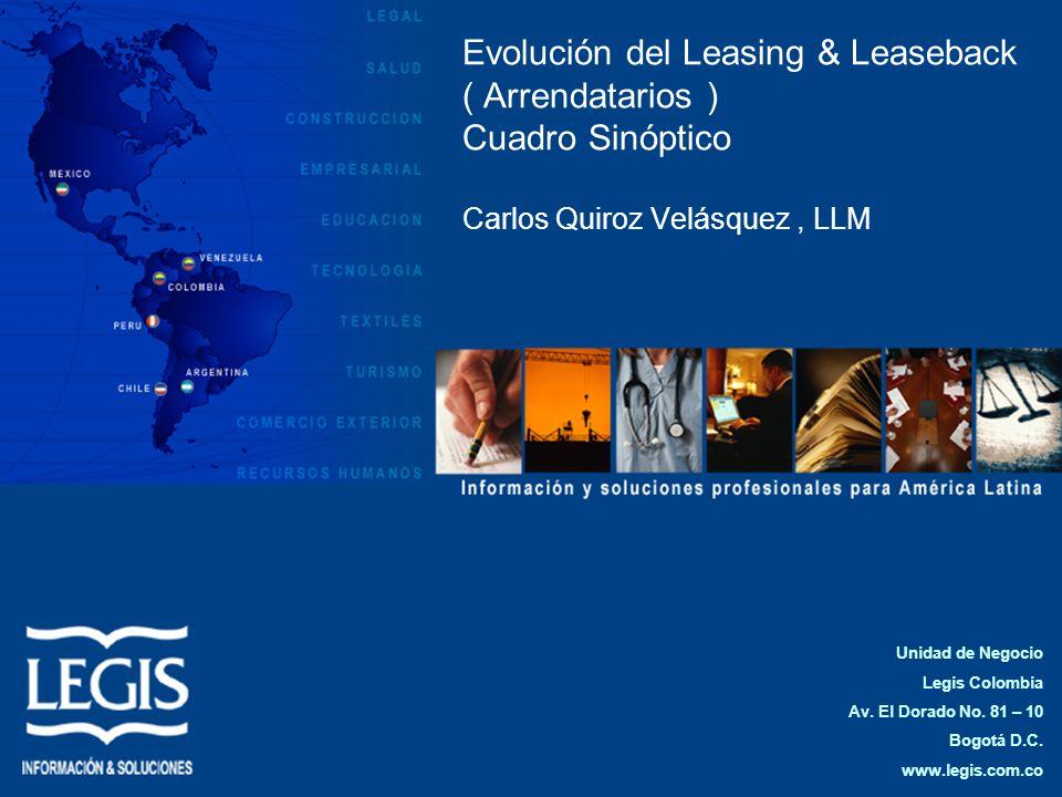 Evolución del Leasing & Leaseback ( Arrendatarios ) Cuadro Sinóptico Carlos Quiroz Velásquez, LLM Unidad de Negocio Legis Colombia Av. El Dorado No. 8