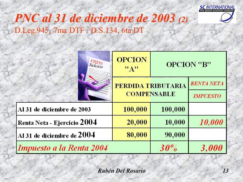 Rubén Del Rosario13 PNC al 31 de diciembre de 2003 (2) PNC al 31 de diciembre de 2003 (2) D.Leg.945, 7ma DTF / D.S.134, 6ta DT