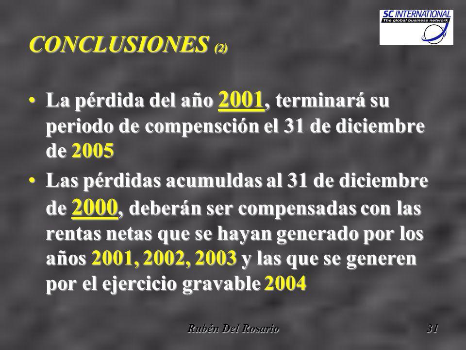 Rubén Del Rosario31 CONCLUSIONES (2) La pérdida del año 2001, terminará su periodo de compensción el 31 de diciembre de 2005La pérdida del año 2001, terminará su periodo de compensción el 31 de diciembre de 2005 Las pérdidas acumuldas al 31 de diciembre de 2000, deberán ser compensadas con las rentas netas que se hayan generado por los años 2001, 2002, 2003 y las que se generen por el ejercicio gravable 2004Las pérdidas acumuldas al 31 de diciembre de 2000, deberán ser compensadas con las rentas netas que se hayan generado por los años 2001, 2002, 2003 y las que se generen por el ejercicio gravable 2004