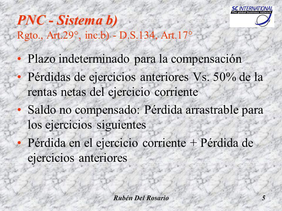 Rubén Del Rosario5 PNC - Sistema b) PNC - Sistema b) Rgto., Art.29°, inc.b) - D.S.134, Art.17° Plazo indeterminado para la compensación Pérdidas de ejercicios anteriores Vs.