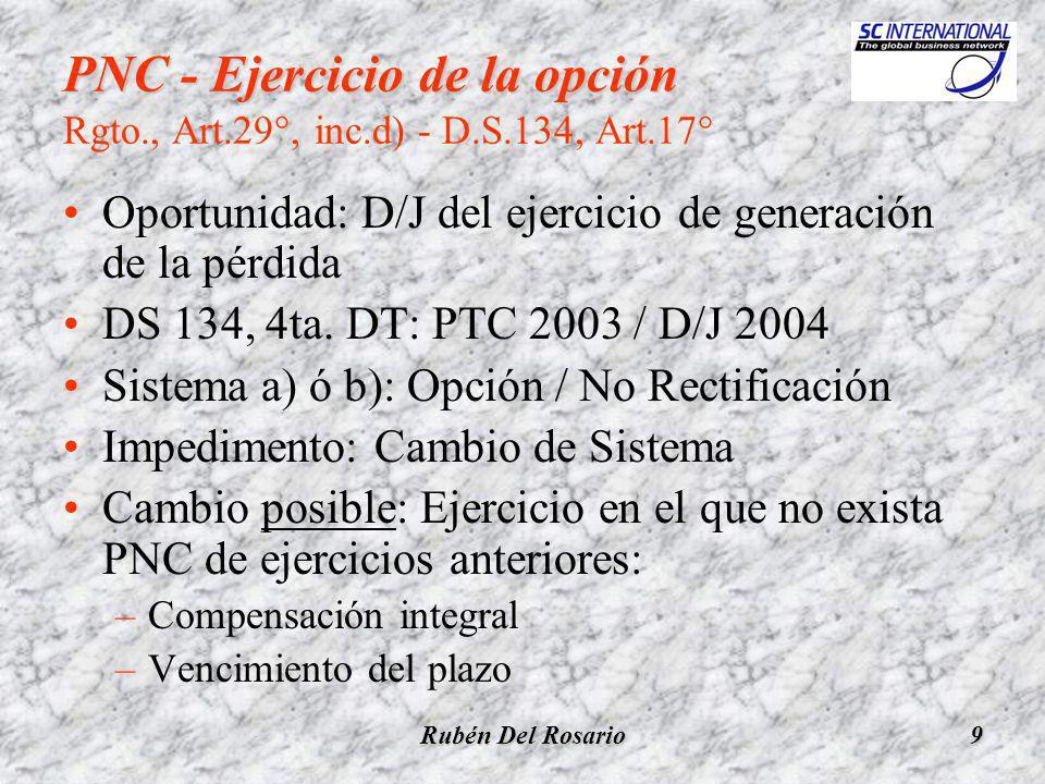 Rubén Del Rosario10 PNC - Ejercicio de la opción (2) PNC - Ejercicio de la opción (2) Rgto., Art.29°, inc.d) - D.S.134, Art.17° Formalidad para el cambio del Sistema: Rectificación de la D/J ??.
