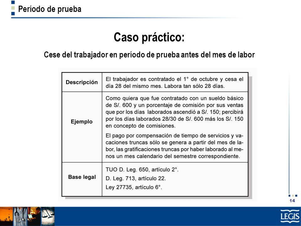 14 Período de prueba Caso práctico: Cese del trabajador en período de prueba antes del mes de labor