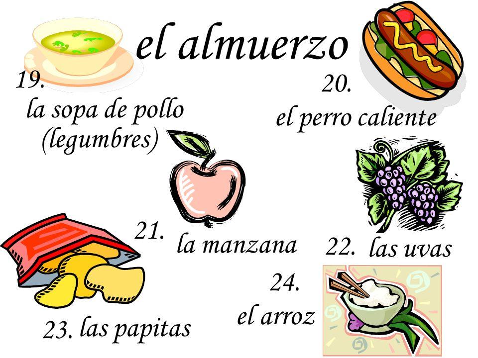 la crema de maní y la jalea el jamón la lechuga el queso los sándwiches 25. 26. 29. el atún 28. 27.