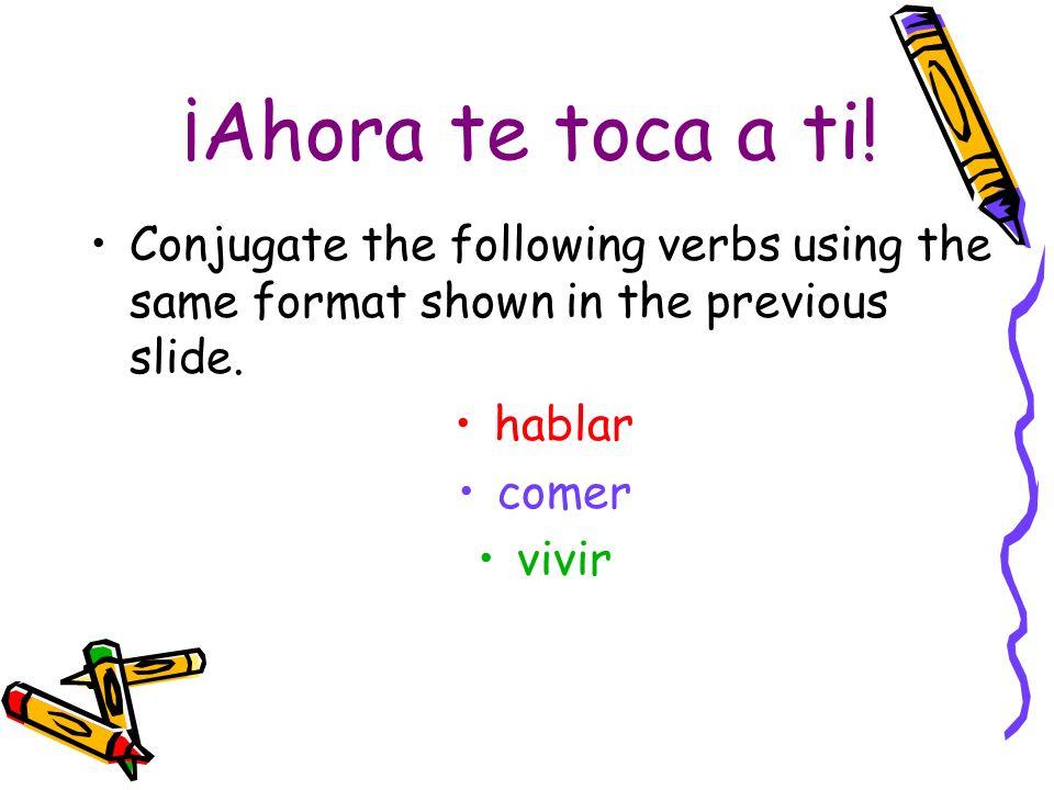 continuación (Ellas) hablar – ar + an = hablan They speak (Ustedes) hablar – ar + an = hablan You all speak