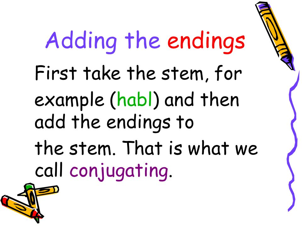 Regular –ar verbs To conjugate hablar or any other regular – ar verb, take the part of the verb called the stem (habl).