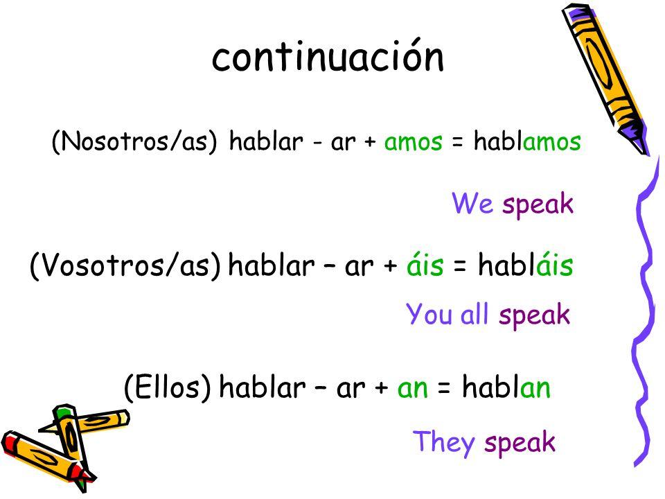 continuación (ella) hablar – ar + a = habla She speaks (usted) hablar- ar + a = habla You speak