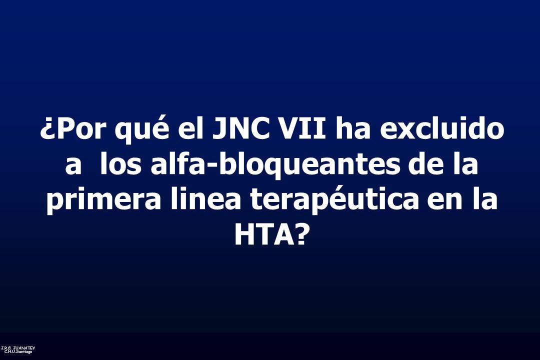 J.R.G. JUANATEY C.H.U.Santiago ¿Por qué el JNC VII ha excluido a los alfa-bloqueantes de la primera linea terapéutica en la HTA?