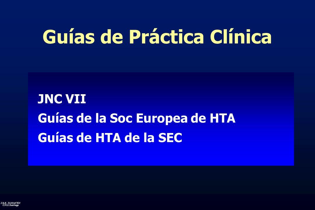 J.R.G. JUANATEY C.H.U.Santiago Guías de Práctica Clínica JNC VII Guías de la Soc Europea de HTA Guías de HTA de la SEC