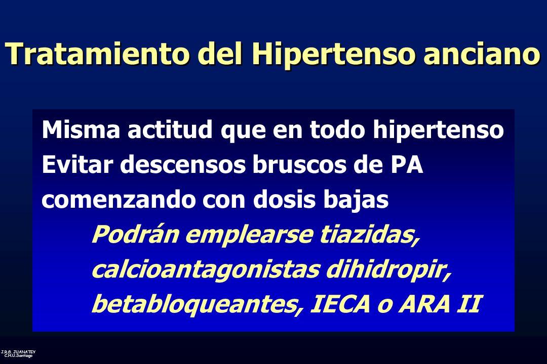 J.R.G. JUANATEY C.H.U.Santiago Tratamiento del Hipertenso anciano Misma actitud que en todo hipertenso Evitar descensos bruscos de PA comenzando con d